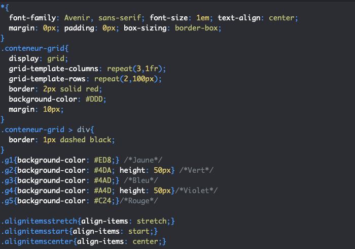 On utilise la propriété CSS align-items pour aligner les éléments d'une grille par rapport à l'axe de bloc