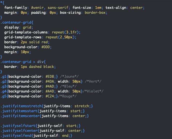 On utilise la propriété justify-self pour aligner les éléments d'une grille un à un dans l'axe de ligne