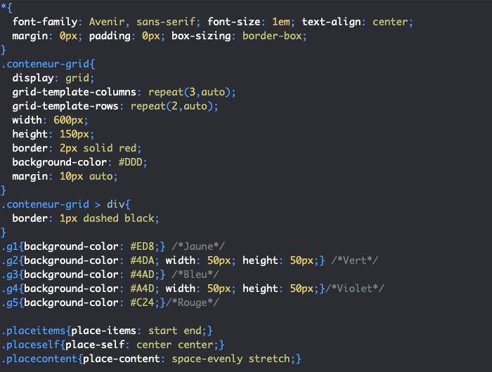 On utilise les propriétés raccourcies place-items place-self et place-content pour aligner des éléments dans une grille CSS