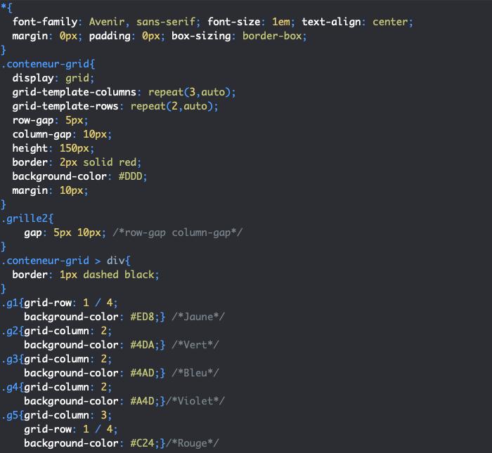 On utilise les propriétés CSS row-gap et column-gap pour définir les tailles des gouttières pour espacer les éléments de grille