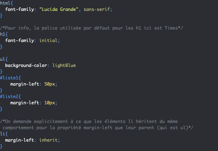 Les valeurs CSS inherit et initial et l'héritage en CSS