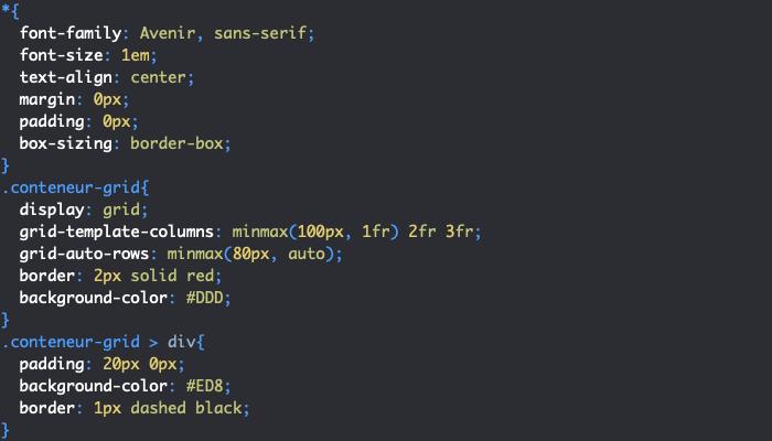 Définition d'un intervalle de taille pour les lignes et colonnes d'une grille CSS avec la fonction minmax