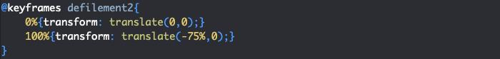 Création d'une règle keyframes et de l'animation pour un diaporama responsive en CSS avec effet de défilement