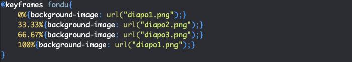 Utilisation règle CSS keyframes création diaporama HTML et CSS