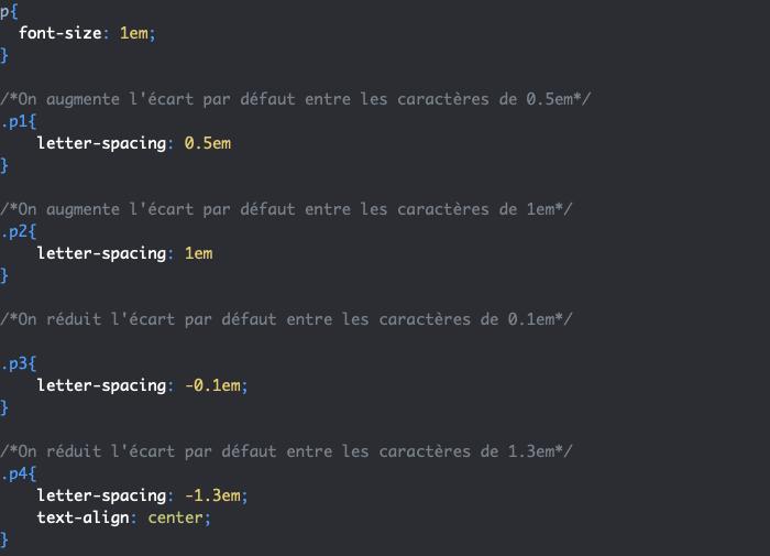 Exemple d'utilisation de la propriété CSS letter-spacing