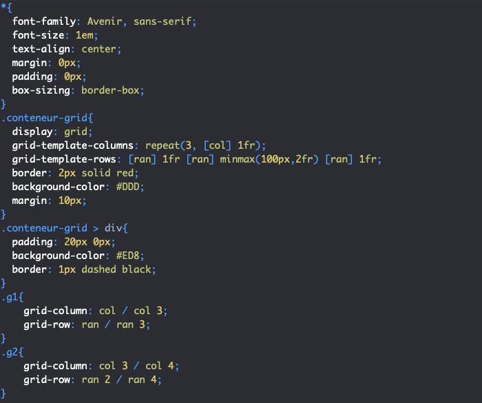 Création de lignes implicites dans une zone de grille nommée en CSS