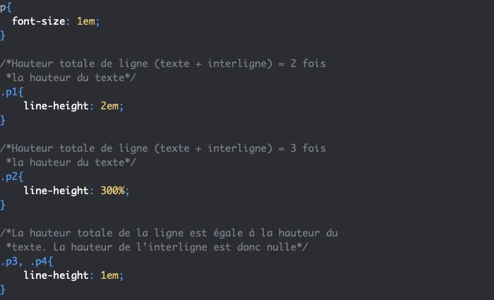 Exemple d'utilisation de la propriété CSS line-height