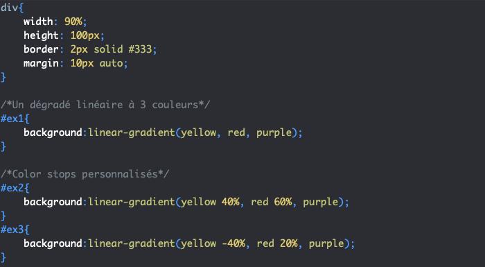 On crée un dégradé linéaire en CSS avec linear-gradient avec direction et color stop