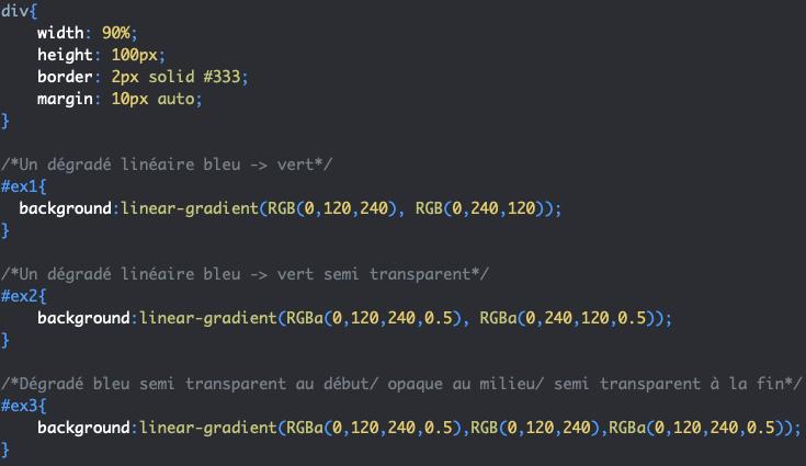 Création de dégradé linéaire semi transparent en CSS avec linear-gradient