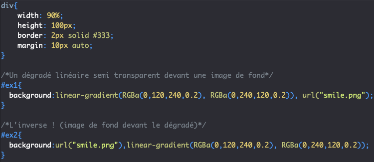 Définition d'un linear-gradient CSS semi transparent par dessus une background-image