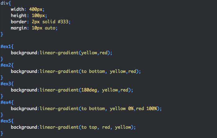 Utilisation de linear-gradient en CSS