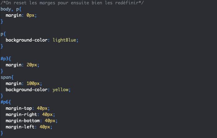 Ajout de marges externes en CSS avec margin