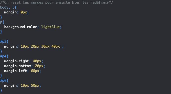 Ajout de marges externes différentes de chaque côté avec margin en CSS