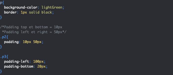 Ajout de marges internes en CSS avec padding top right bottom left