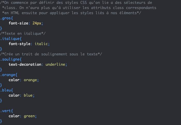 Définition des styles des différentes class en CSS