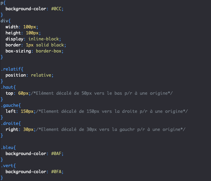 Utilisation de la propriété CSS position et de sa valeur relative