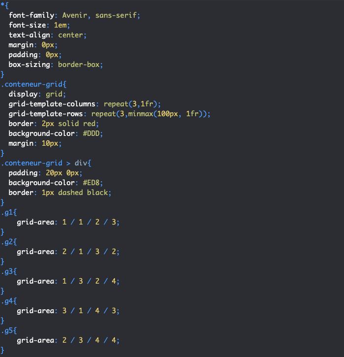 On crée des zones de grille en CSS avec grid-area