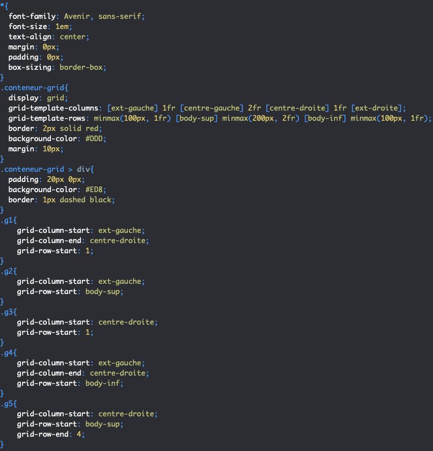 Utilisation de grid-template-columns et grid-template-rows pour nommer les lignes d'une grille CSS pour placer les éléments