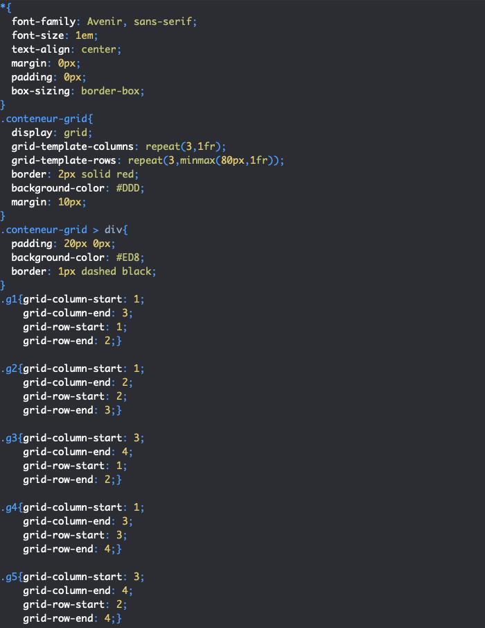Utilisation des propriétés CSS grid-column-start grid-row-start grid-column-end et grid-row-end