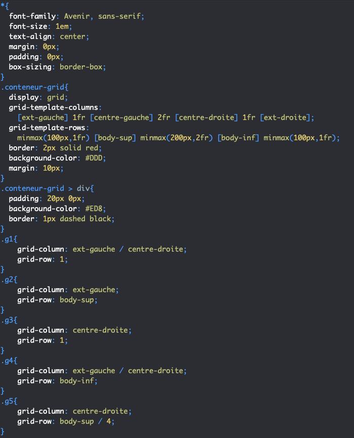 Utilisation des propriétés raccourcies grid-column et grid-row en CSS avec display grid