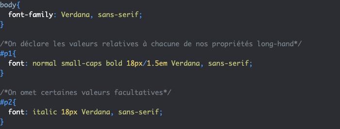 Utilisation de la propriété CSS raccourcie font