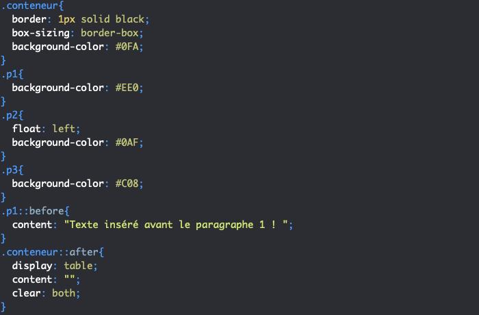 Exemple d'utilisation des pseudo éléments CSS before et after