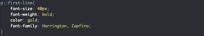 Exemple d'utilisation du pseudo élément first-line