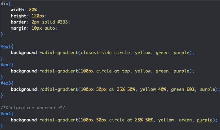 On définit des tailles et formes pour nos dégradés radiaux avec radial-gradient en CSS
