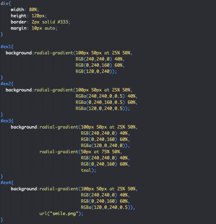 On utilise radial-gradient avec background pour définir des dégradés radiaux en fond des éléments en CSS