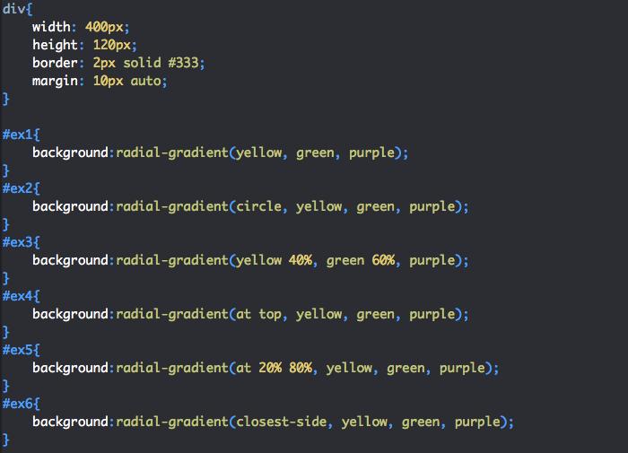 Création de dégradé radial en CSS avec radial-gradient