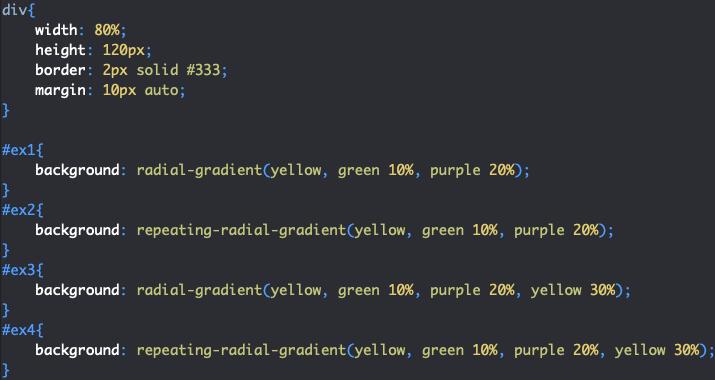 Utilisation de la propriété repeating-radial-gradient en CSS