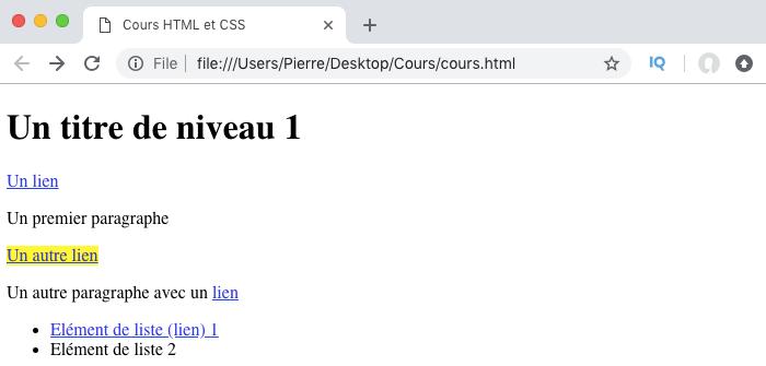 Résultat de l'utilisation du sélecteur CSS plus