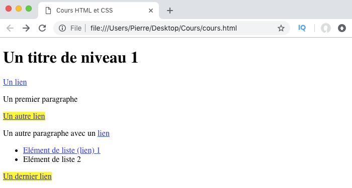 Résultat de la sélection de l'élément suivant en CSS