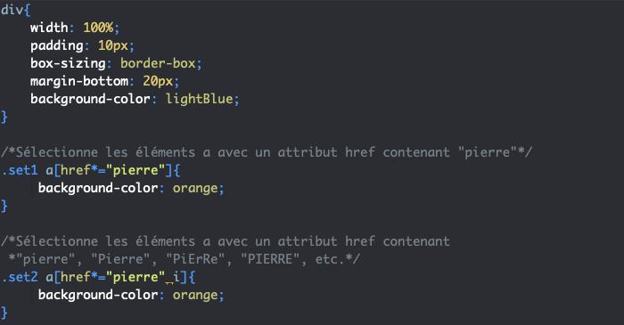 On ajoute une option i en CSS pour rendre les sélecteurs d'attribut insensibles à la casse