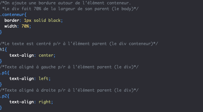 Exemple d'utilisation de la propriété CSS text-align