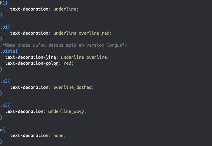 Exemple d'utilisation de la propriété CSS text-decoration long hand