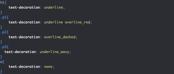 Exemple d'utilisation de la propriété CSS text-decoration