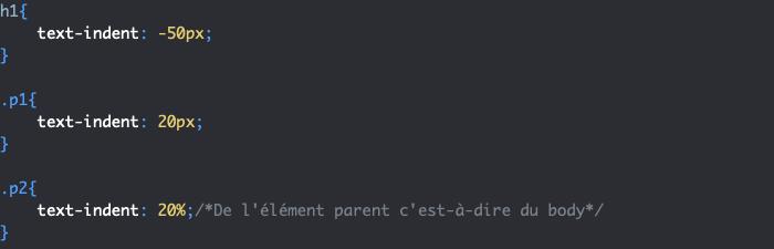 Exemple d'utilisation de la propriété CSS text-indent