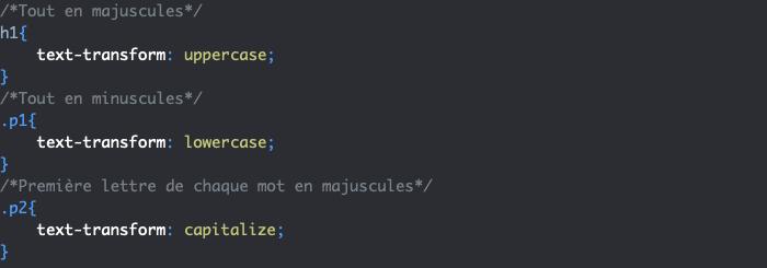 Exemple d'utilisation de la propriété CSS text-transform