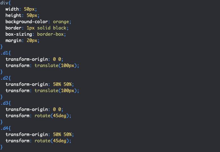 Utilisation des propriétés CSS transform-origin et transform pour créer des translations et rotations