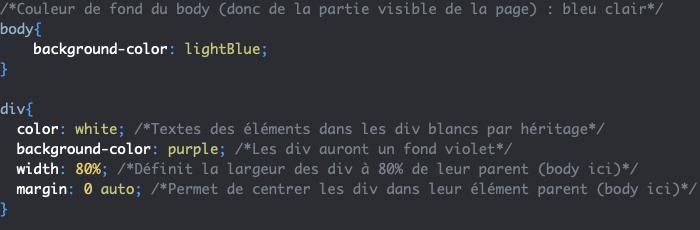 Ajout de styles à un élément div en CSS