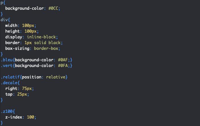 Utilisation de la propriété CSS z-index
