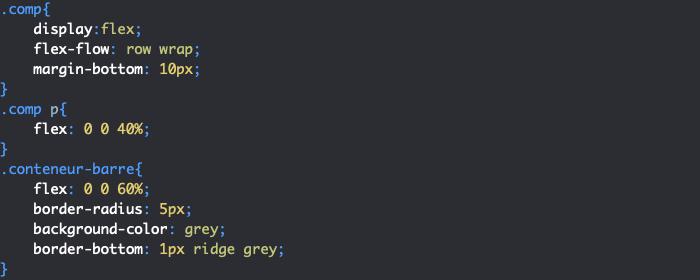 Premier exemple de design pour la section compétence de notre CV responsive HTML et CSS