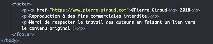 Squelette HTML du footer pour la création d'un site CV responsive en HTML et CSS