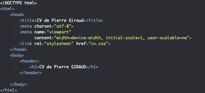 Squelette HTML du header pour la création d'un site CV responsive en HTML et CSS