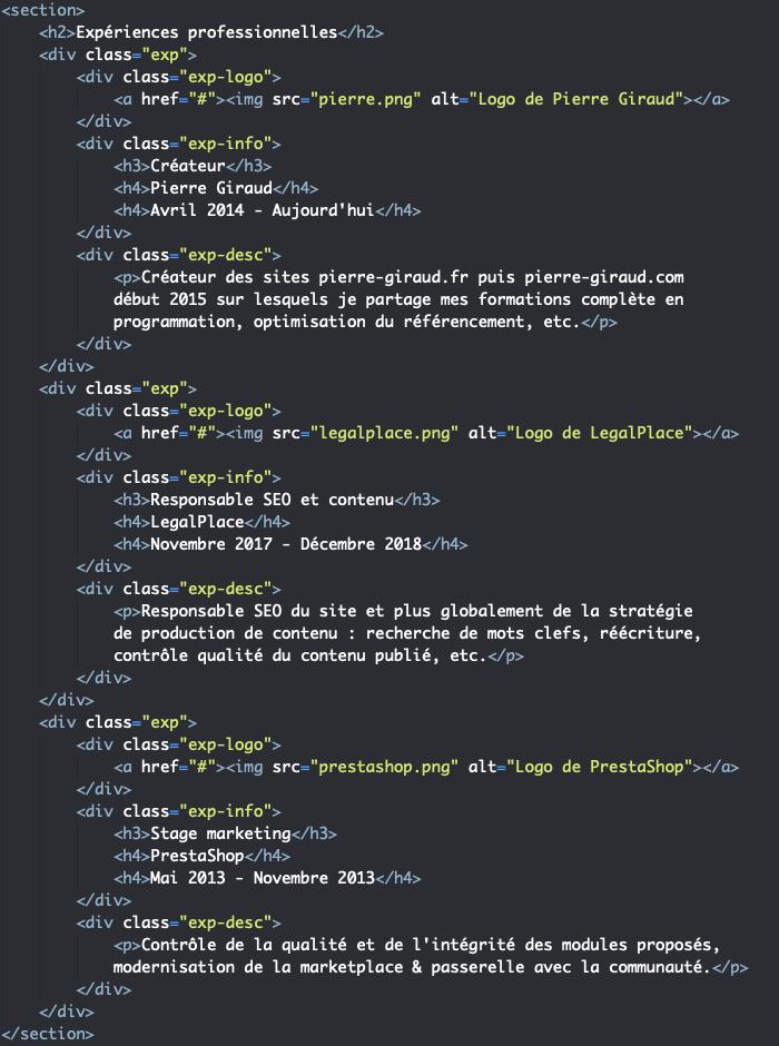 Code HTML section expériences du CV responsive HTML et CSS