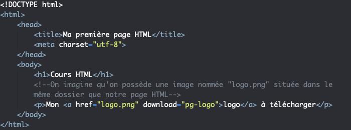 Utilisation de l'élément HTML a pour faire télécharger un fichier