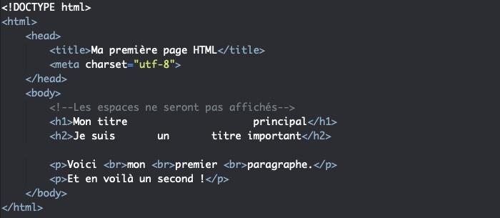 L'élément HTML br de retour à la ligne