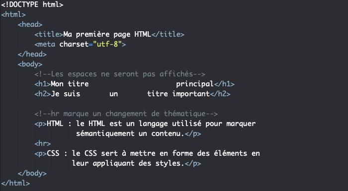 L'élément HTML hr de changement de thématique