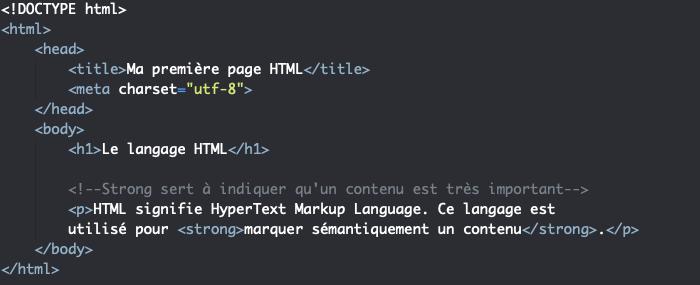 L'élément HTML strong indique qu'un contenu est très important